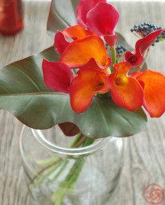レッドダッチェスとカラーの花束1
